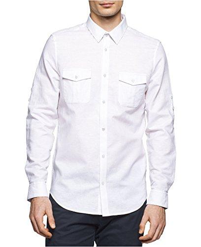 Calvin Klein Linen Suit (Calvin Klein BTD L/S Solid Linen Long Sleeve Shirt)
