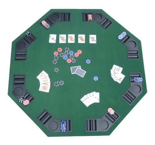 GHP 48'' Octagon Folding Poker/Blackjack 8 Seat Tabletop w Holders Carrying Case by Globe House Products