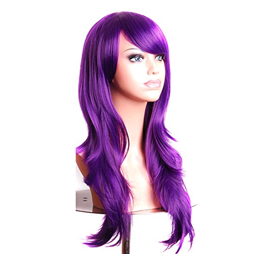 Wigood Purple Long Curly Hair With Air Bangs Cosplay Wig with Free Wig Cap for (Purple Hair Wig)