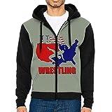 USA Wrestling Raglan Hoodies Print Sweater Pocket Long Sleeve Man
