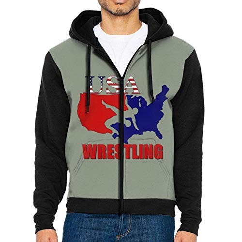 USA Wrestling Raglan Hoodies Print Sweater Pocket Long Sleeve Man by Lodve Hvst