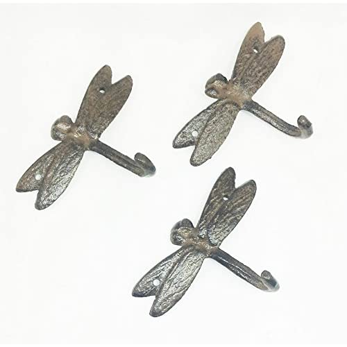 Hot Aunt Chris' Products - Set of 3 - Cast Iron Dragonfly Single Hook - Wall Hung - Antique Old Rustic Color Finish - Use Indoor Or Outdoor - Use To Hang Coats, Umbrella, Keys, Scarf, Ect. free shipping