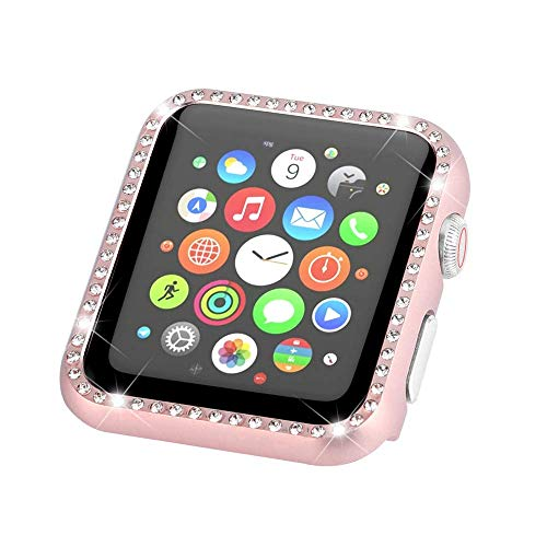 (MANIFAM Compatible with Apple Watch Case 38mm,Apple Watch Face Case Bling Shiny Crystal Diamond Metal Bumper Protective Cover Frame Accessories for Apple Watch 38mm Series 3/2/1 (Rose Gold, 38mm))