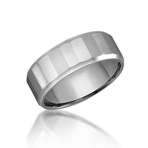 Multi-Faceted Mirror Finish Tungsten Ring – Wedding or Fashion Band – Beveled Edge – Comfort Fit -