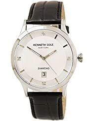 Kenneth Cole 10030661 Mens Diamond Silver Dial Black Croco Leather Strap Watch