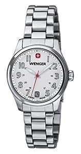 Wenger  Terragraph - Reloj de cuarzo para mujer, con correa de acero inoxidable, color plateado
