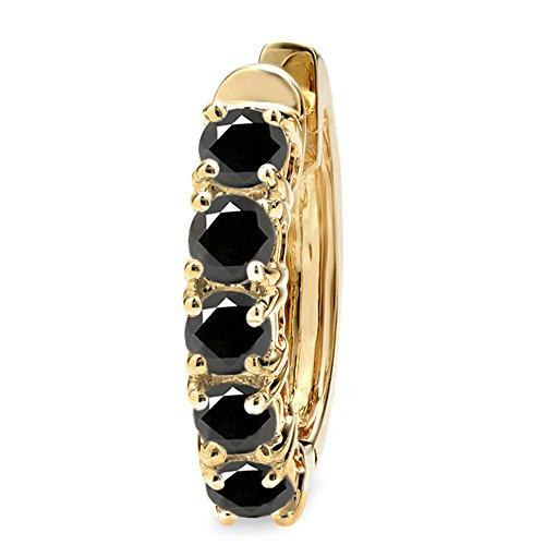 0.50 Carat (ctw) 14K Yellow Gold Round Black Diamond Ladies Huggies Hoop Earring 1/2 CT (Only 1Pc) ()