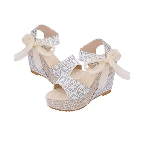 ANDAY Women Hawaii Summer Lace Bow Platform Wedges Sandals Beach Peep-Toe Shoes Silver 66Qpt