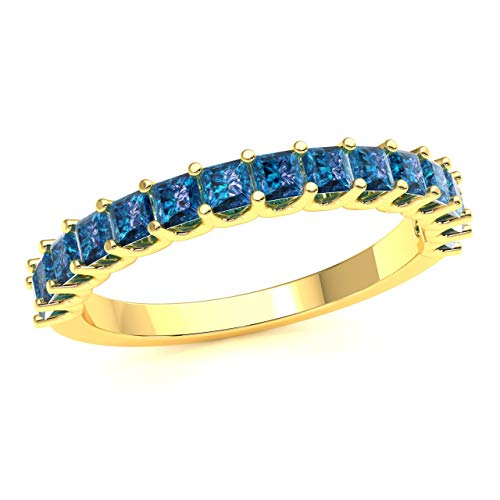 (Gift JewelWeSell 10K Yellow Gold Wedding Band Ring For Women 0.75 Cttw Natural Blue Diamond (SI2-I1 Clarity) Princess Cut U-Prong Stackable Size 7)
