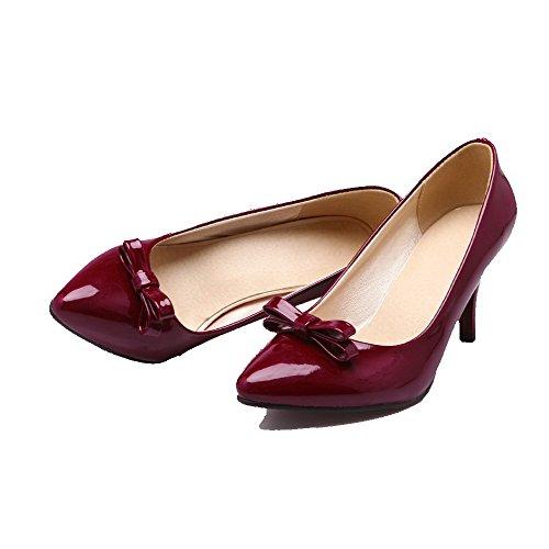 Claret geschlossene On Pumps Pull Heels VogueZone009 Lackleder Schuhe High Damen YTPnqPzgxa