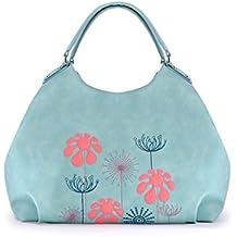 Alba Soboni Women's PU Leather Handbags Lightweight Purse Embroidery Tote Casual Work Bag