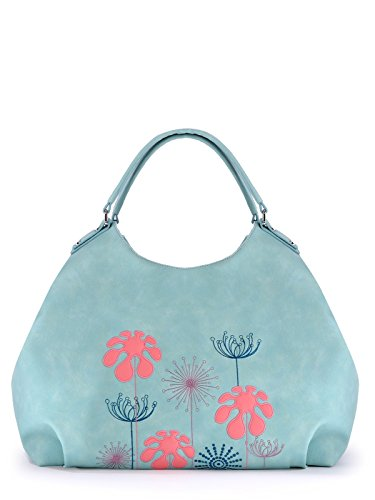 Alba Soboni Women's PU Leather Handbags Lightweight Purse Embroidery Tote Casual Work Bag (170104) mint