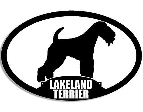 MAGNET Oval LAKELAND TERRIER Silhouette Magnetic Sticker (dog breed)