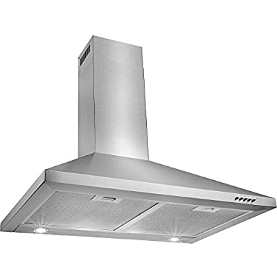 "Perfetto Kitchen and Bath 30"" Convertible Wall Mount Range Hood in Stainless Steel with LEDs and Push Controls"
