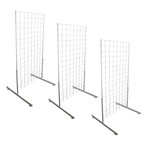 DBM IMPORTS 3 White Gridwall Panel 4 Ft Tall Wire Grid Shelving Board T-Leg Retail Display Fixture