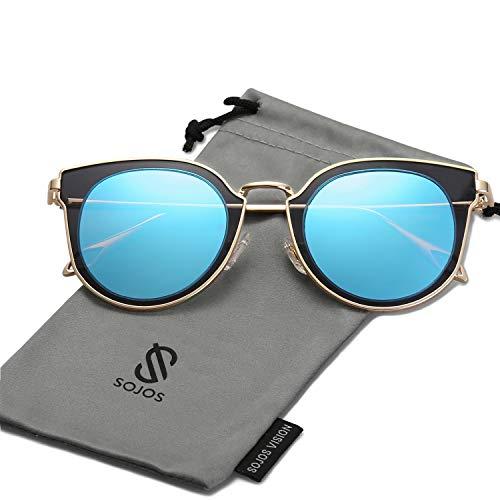 SOJOS Fashion Polarized Sunglasses for Women UV400 Mirrored Lens SJ1057 with Gold Frame/Blue Polarized ()