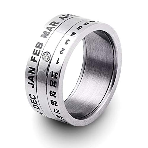 Titanium Seal 8mm very cool & Creative Ring 3 Layers Rotatable Roman Calendar Date Week Time Ring Custom Made With Any Date Wedding Band High Polished Comfort Fit for women - Man (stainless-steel, 11)