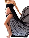 JustVH Maternity Chiffon Off Shoulder Gown Front Split Maxi Photoshoot Photography Dress