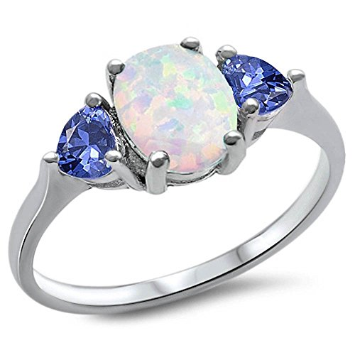 Oxford Diamond Co Sterling Silver Oval Lab Created White Opal & Simulated Tanzanite Heart Ring Sizes - Ring Fire Tanzanite Opal