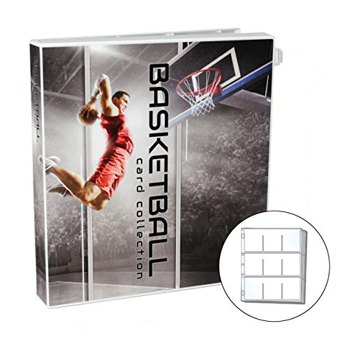 UniKeep Basketball Themed Trading Card Collection Binder with 10 Platinum Series Trading Card Pages. Fully Enclosed Case with a Locking Latch to Keep Cards Secure