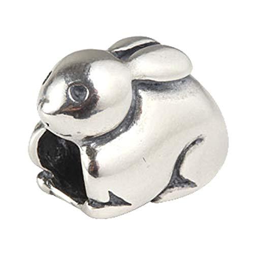 Rabbit Charm Animal Charm -925 Sterling Silver Charm Like Bead Love Charm Pet Charm - fits Pandora Charms Bracelets (E)