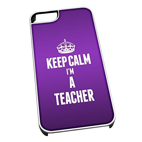 Cover per iPhone 5/5S Bianco Specchio Bianco Laccato inquadramento Viola con scritta Keep Calm I m a Teacher