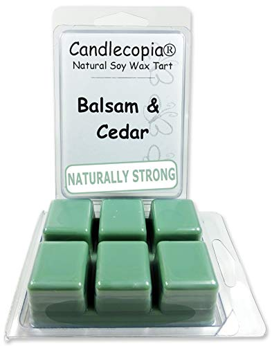 Candlecopia Balsam & Cedar Strongly Scented Hand Poured Vegan Wax Melts, 12 Scented Wax Cubes, 6.4 Ounces in 2 x 6-Packs
