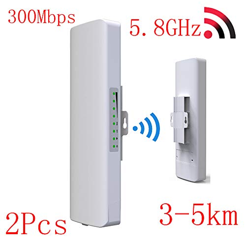 SHENGY 5.8 G Wireless WiFi al Aire Libre CPE Puente de Red, 2 * 14dBi repetidor WiFi, Router WLAN de Largo Alcance 300Mbps,...