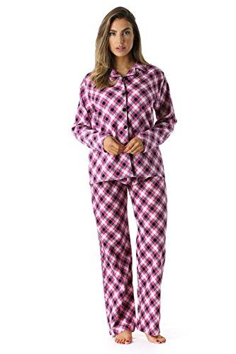 FollowMe Printed Flannel Button Front PJ Pant Set, 6371-10233, Large, Pink - Diagonal Plaid