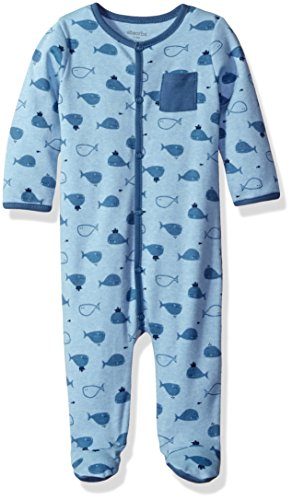 absorba Baby Boys Footie-Pocket On Chest, Heathered Blue, 3/6 Months
