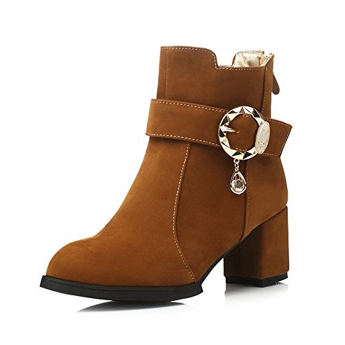 AgooLar Women's Imitated Suede Low Top Solid Zipper Kitten Heels Boots Brown