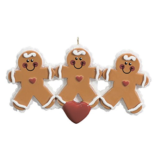 Personalized Gingerbread Family of 3 Christmas Ornament Tree 2018 - Parent Children Sibling Friends Cookie hold Hand Heart - Holiday Sweet Candy Winter Activity Tradition - Free Customization ()