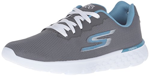 Skechers Performance Women's Go Run 400 Action Running Shoe, Charcoal/Blue, 8 M US