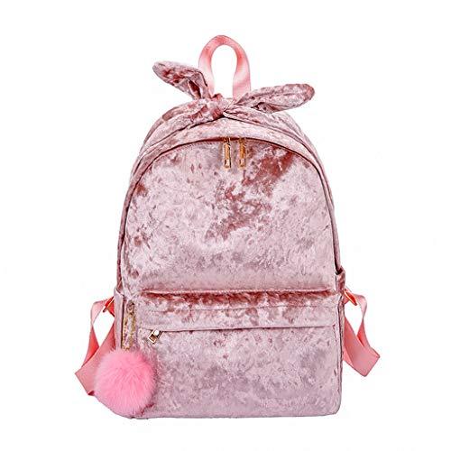 (2DXuixsh Women Backpack Purse Waterproof Rucksack Lightweight Shoulder Bag Ladies Travel Bags Plush Literary Hair Ball Pink)