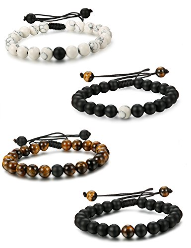 FUNRUN JEWELRY 4PCS 8mm Distance Bracelet for Men Women Beaded Natural Stone Couples His and Hers Bracelets Elastic