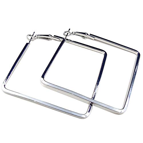 (Cereza Women Stainless Steel Simple Geometric Square Hoop Earring (Square-Silver))