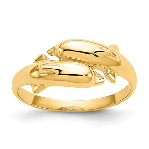 (14k Yellow Gold Double Dolphin Band Ring Size 6.00 Animal Sea Shell Life Fine Jewelry Gifts For Women For Her)