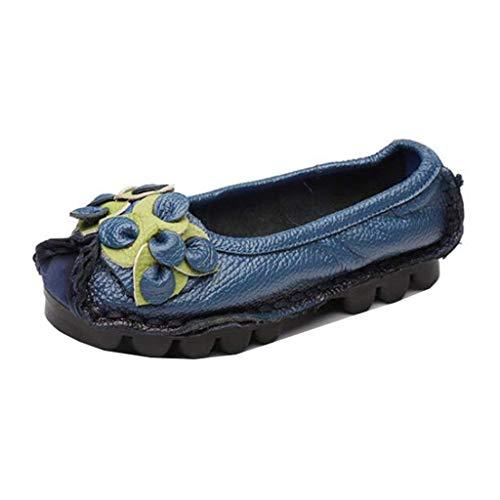 Fuxitoggo Stile top Low Slip Folk Donna Dimensione on colore Blu Nero Uk Mocassini 5 Da wawr8