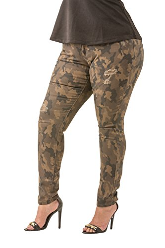 Poetic Justice Plus Size Women's Curvy Fit Camo Stretch Twill Destroyed Skinny Jeans Size 16 x 32Plus Size
