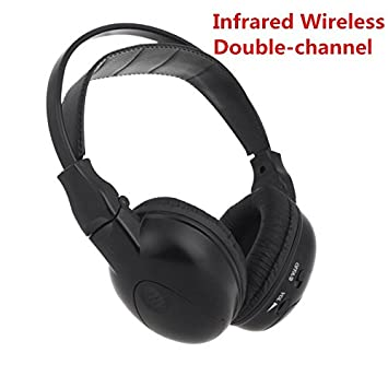 KKmoon Auricular Plegable trasera sistema de entretenimiento auriculares de diadema estéreo inalámbrico por infrarrojos IR reproductor de DVD Cabeza móvil ...