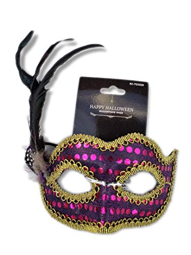 Purple Sequined Masquerade Mask w/Iridescent Feathers and Gold Braid Trim; Party, Costume Ball, New Years Eve, Mardi Gras, Halloween, Harlequin Mask ()