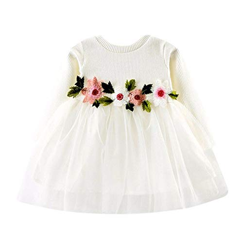 RAINED-Toddler Baby Girls Princess Dress Dot Tulle Tutu Skirt Ruched Patchwork Lace Party Clothes D White