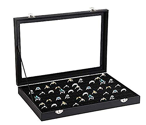 (Ring Storage Display Box with Transparent Lid ~ Earring Holder Showcase ~ Jewelry Tray Organizer (Black))