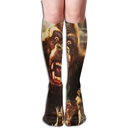 BOKAIKAI1306 Terrorist King Kong Godzilla Unisex Adults Men's Xmas Gift Womens Long Stockings 3D Printing Hose Sports Knee Socks