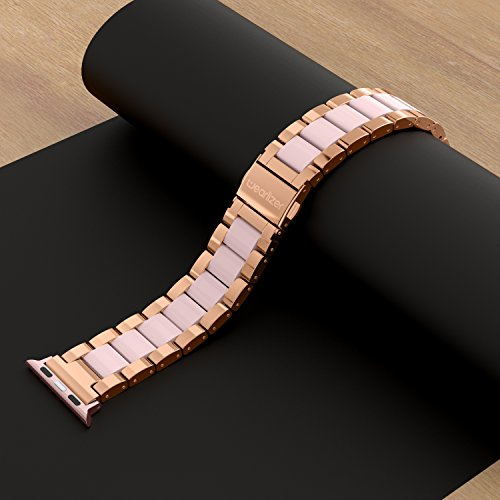 Wearlizer Compatible Apple Watch Band 38mm 40mm Fashion Wristbands Womens iWatch Stainless Steel and Resin Replacement Strap Bracelet Metal Clasp Series 4 3 2 1 Sport Edition-Dark Rose Gold+Pink by Wearlizer (Image #5)