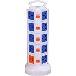 Smart 20-Outlet Home/ Office Surge Protector Worldwide Voltage Power Socket Vertical Tower Multiple Socket With 2 USB Outputs for iPhone 6/6 Plus/5S/5, iPad Air/Mini, Samsung Galaxy Note 4/Note 3/Note 2/S5/S4/S3 and other Devices (White and Blue)