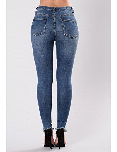 Mujer Pantalón Skinny Afligida Bordados Pantalones Naliha Jean Azul Stretch Rasgado dxHnWqT