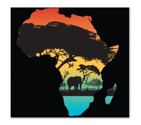 (Africa Color Vinyl Sticker - Car Phone Helmet - SELECT SIZE)