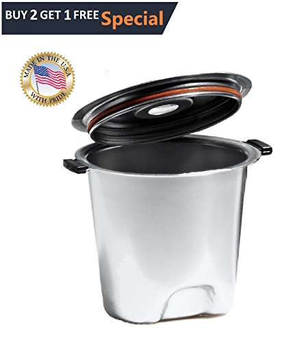 Fill N Save Elite Series Stainless Steel Reusable K Cup for Keurig 2.0 and Backward Compatible With Original Keurig 1.0 Models. Silver (B3000 Series)