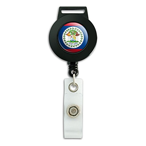 Belize National Country Flag Lanyard Retractable Reel Badge ID Card Holder